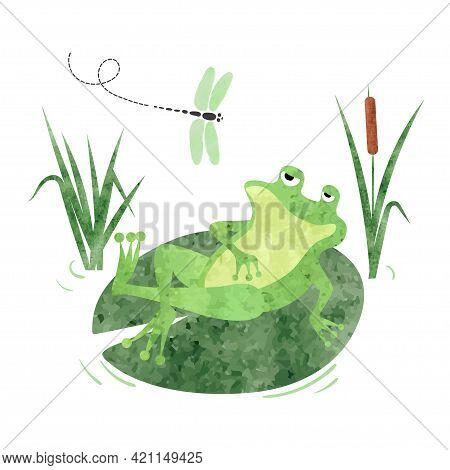 Cartoon Lazy Frog On Lily Pad. Vector Illustration For Kids