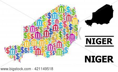 Vibrant Bank And Commercial Mosaic And Solid Map Of Niger. Map Of Niger Vector Mosaic For Ads Campai