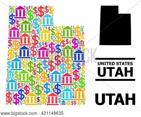 Bright Colored Bank And Commercial Mosaic And Solid Map Of Utah State. Map Of Utah State Vector Mosa