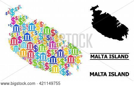 Vibrant Bank And Commerce Mosaic And Solid Map Of Malta Island. Map Of Malta Island Vector Mosaic Fo