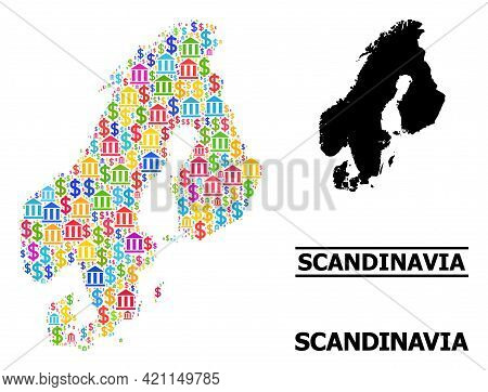 Vibrant Bank And Economics Mosaic And Solid Map Of Scandinavia. Map Of Scandinavia Vector Mosaic For