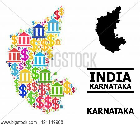 Bright Colored Bank And Money Mosaic And Solid Map Of Karnataka State. Map Of Karnataka State Vector
