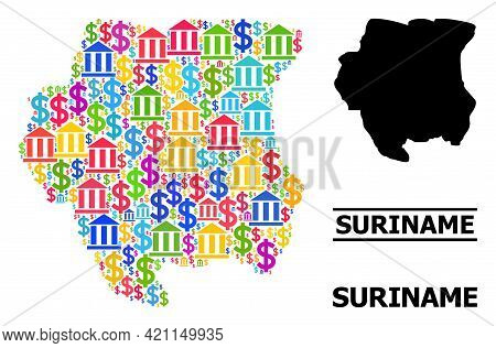 Colored Bank And Dollar Mosaic And Solid Map Of Suriname. Map Of Suriname Vector Mosaic For Business