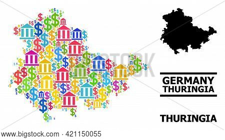 Bright Colored Bank And Economics Mosaic And Solid Map Of Thuringia State. Map Of Thuringia State Ve