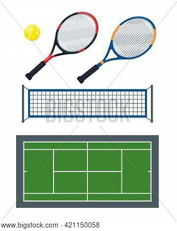 Tennis Ball, Net, Rackets And Green Court