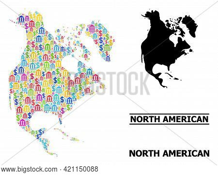 Colorful Bank And Dollar Mosaic And Solid Map Of North America. Map Of North America Vector Mosaic F