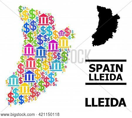 Colored Bank And Commercial Mosaic And Solid Map Of Lleida Province. Map Of Lleida Province Vector M