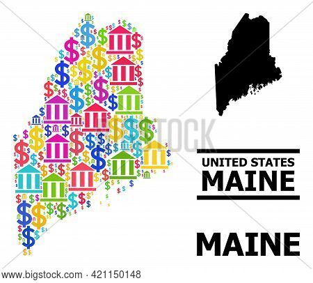 Colored Banking And Business Mosaic And Solid Map Of Maine State. Map Of Maine State Vector Mosaic F