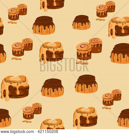 Seamless Pattern With Cinnabon Buns. Swirl Buns. Cinnamon Rolls With Sugar, Topping, Syrup, Nuts. Ve