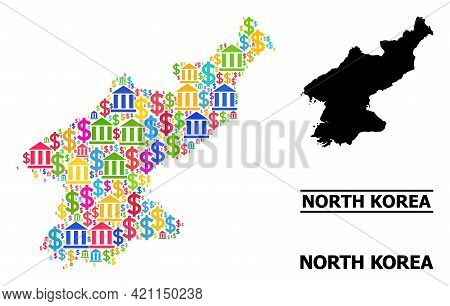 Bright Colored Bank And Commercial Mosaic And Solid Map Of North Korea. Map Of North Korea Vector Mo