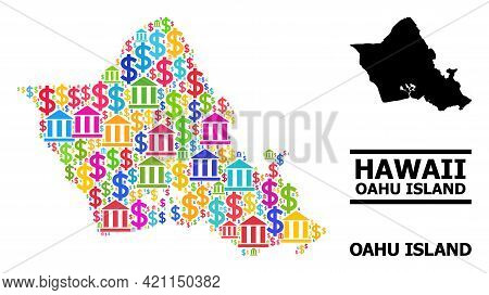 Bright Colored Financial And Dollar Mosaic And Solid Map Of Oahu Island. Map Of Oahu Island Vector M
