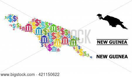 Bright Colored Bank And Economics Mosaic And Solid Map Of New Guinea Island. Map Of New Guinea Islan