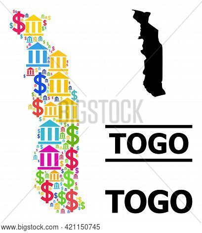 Multicolored Bank And Business Mosaic And Solid Map Of Togo. Map Of Togo Vector Mosaic For Ads Campa