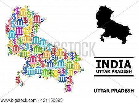Bright Colored Bank And Dollar Mosaic And Solid Map Of Uttar Pradesh State. Map Of Uttar Pradesh Sta