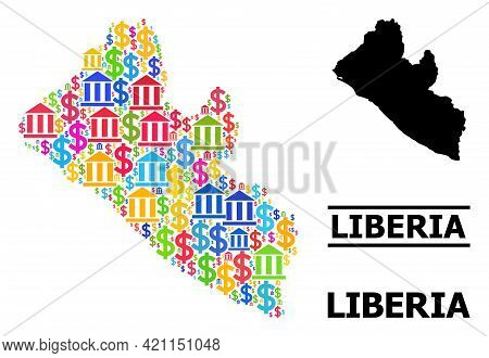 Vibrant Bank And Commercial Mosaic And Solid Map Of Liberia. Map Of Liberia Vector Mosaic For Promot