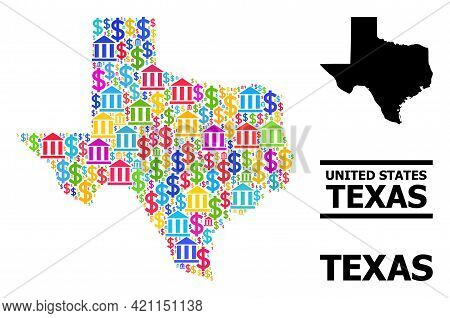 Bright Colored Financial And Dollar Mosaic And Solid Map Of Texas State. Map Of Texas State Vector M