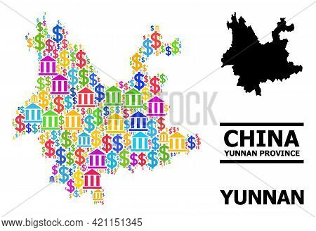 Vibrant Banking And Business Mosaic And Solid Map Of Yunnan Province. Map Of Yunnan Province Vector
