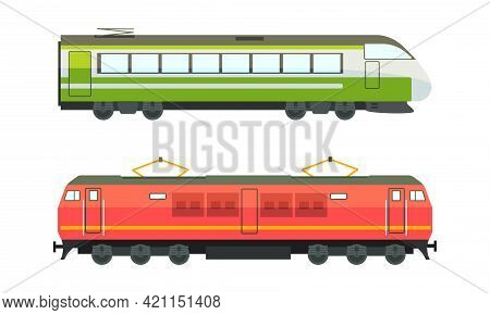 Railway Vehicles Set, Side View Of Locomotive And Passenger Wagon Railroad Transport Flat Vector Ill