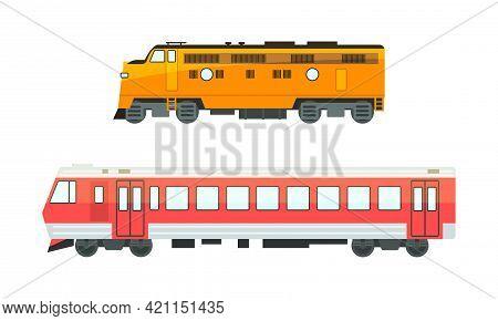 Set Of Railway Locomotives, Railroad Transport Flat Vector Illustration