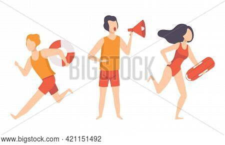 Beach Lifeguards Ensuring Safety Set, Professional Rescuers Characters In Action Cartoon Vector Illu