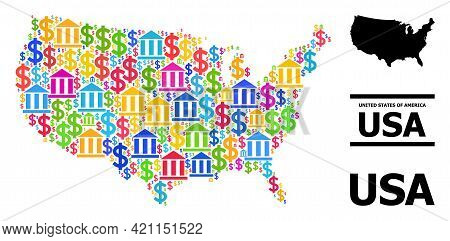 Multicolored Bank And Business Mosaic And Solid Map Of Usa. Map Of Usa Vector Mosaic For Gdp Campaig