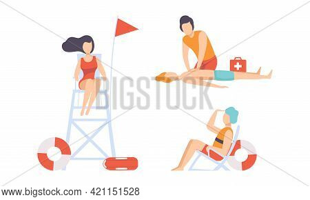 Beach Lifeguards Ensuring Safety And Providing First Aid Set, Professional Rescuers Characters In Ac