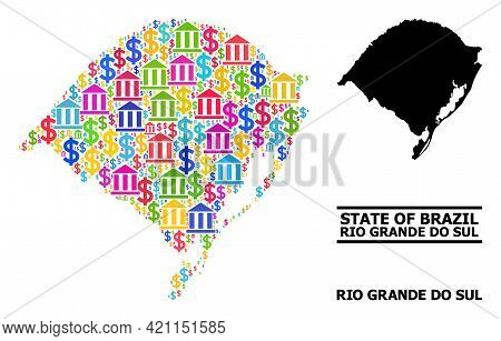 Bright Colored Banking And Commerce Mosaic And Solid Map Of Rio Grande Do Sul State. Map Of Rio Gran