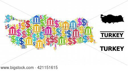 Vibrant Bank And Business Mosaic And Solid Map Of Turkey. Map Of Turkey Vector Mosaic For Geographic
