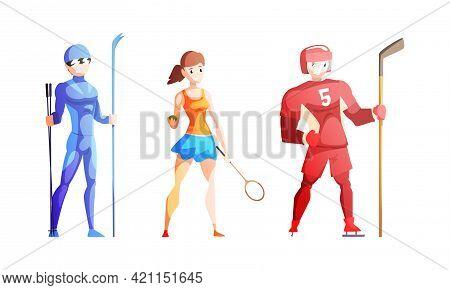 Professional Athletes Doing Sports Set, Male Skier, Hockey Player, Girl Tennis Player Cartoon Vector