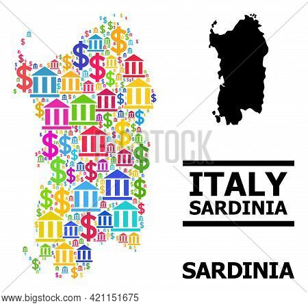 Colored Bank And Economics Mosaic And Solid Map Of Sardinia Region. Map Of Sardinia Region Vector Mo