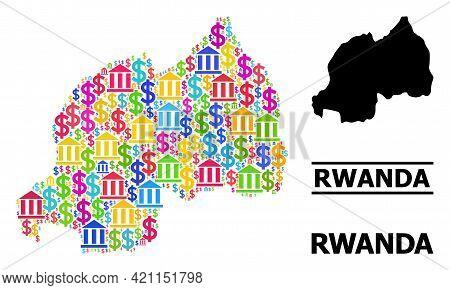 Bright Colored Bank And Commercial Mosaic And Solid Map Of Rwanda. Map Of Rwanda Vector Mosaic For B