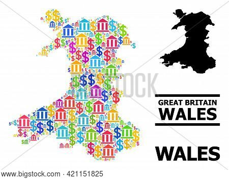 Multicolored Bank And Dollar Mosaic And Solid Map Of Wales. Map Of Wales Vector Mosaic For Ads Campa