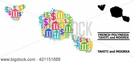 Bright Colored Banking And Dollar Mosaic And Solid Map Of Tahiti And Moorea Islands. Map Of Tahiti A