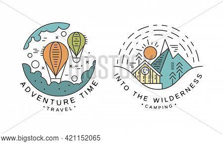 Adventure Time Original Logo Design Set, Into The Wilderness Camping Badges Or Labels Cartoon Vector