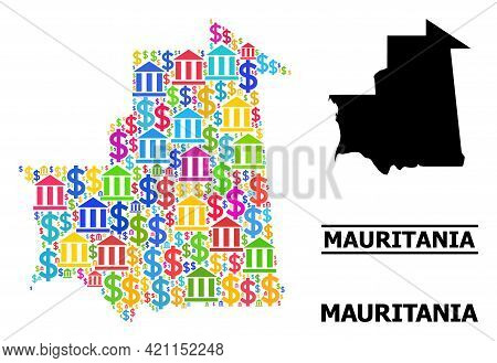 Colored Bank And Business Mosaic And Solid Map Of Mauritania. Map Of Mauritania Vector Mosaic For Ge