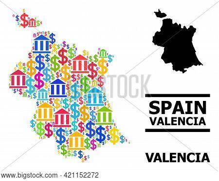 Colored Bank And Economics Mosaic And Solid Map Of Valencia Province. Map Of Valencia Province Vecto
