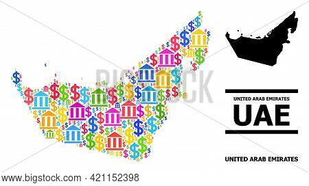 Colorful Bank And Dollar Mosaic And Solid Map Of United Arab Emirates. Map Of United Arab Emirates V