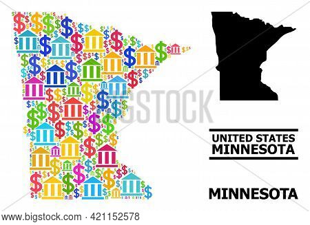 Colorful Bank And Dollar Mosaic And Solid Map Of Minnesota State. Map Of Minnesota State Vector Mosa