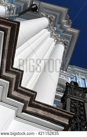 Orthodox Churches In Russia. Smolniy Cathedral In St. Petersburg. Architectural Details And Cornices