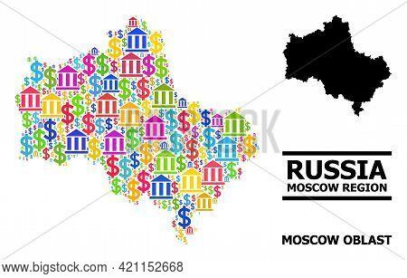 Bright Colored Bank And Dollar Mosaic And Solid Map Of Moscow Region. Map Of Moscow Region Vector Mo