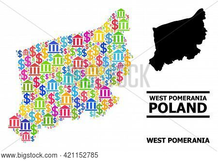 Bright Colored Bank And Money Mosaic And Solid Map Of West Pomerania Province. Map Of West Pomerania