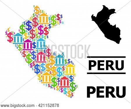 Bright Colored Financial And Dollar Mosaic And Solid Map Of Peru. Map Of Peru Vector Mosaic For Geog