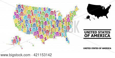 Multicolored Bank And Dollar Mosaic And Solid Map Of Usa Territories. Map Of Usa Territories Vector