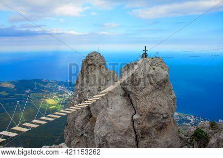 Rope Bridge Over The Precipice On Mount Ai-petri Rock