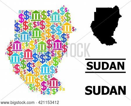 Bright Colored Bank And Business Mosaic And Solid Map Of Sudan. Map Of Sudan Vector Mosaic For Geogr