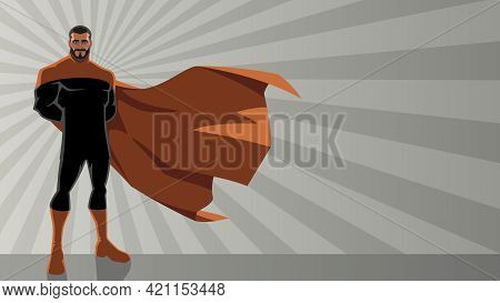 Bearded Superhero Standing Tall On Abstract Ray Light Background With Copy Space.