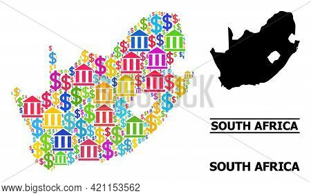 Colored Financial And Dollar Mosaic And Solid Map Of South African Republic. Map Of South African Re