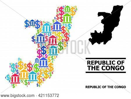 Bright Colored Bank And Business Mosaic And Solid Map Of Republic Of The Congo. Map Of Republic Of T