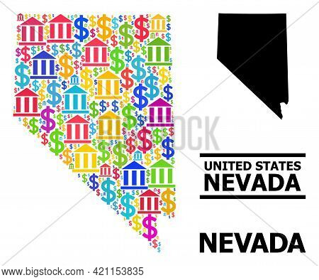 Colored Banking And Dollar Mosaic And Solid Map Of Nevada State. Map Of Nevada State Vector Mosaic F