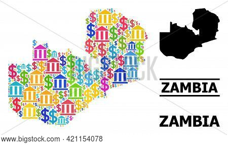 Colored Banking And Commerce Mosaic And Solid Map Of Zambia. Map Of Zambia Vector Mosaic For Promoti